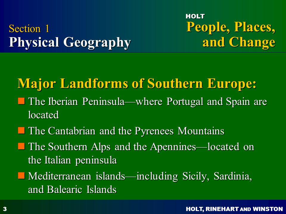 Major Landforms of Southern Europe: