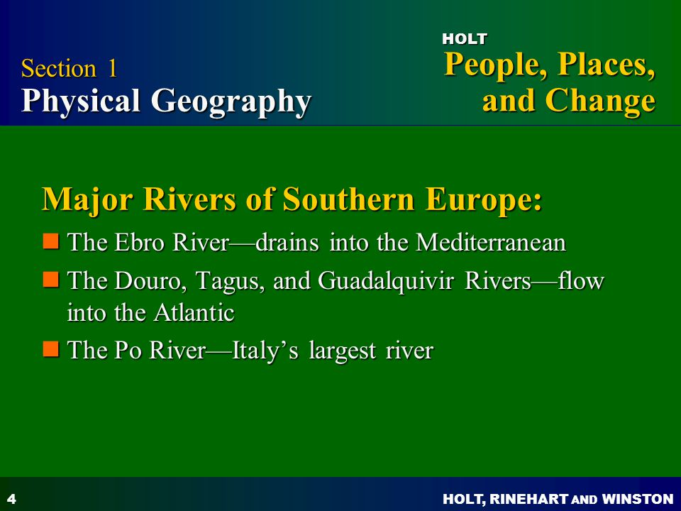 Major Rivers of Southern Europe:
