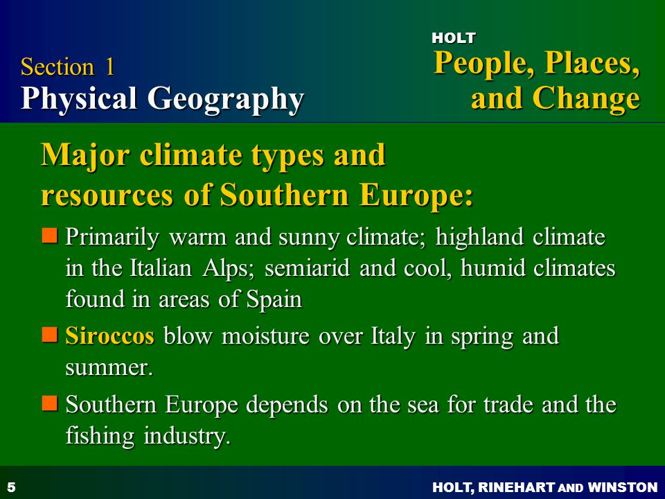 Major climate types and resources of Southern Europe:
