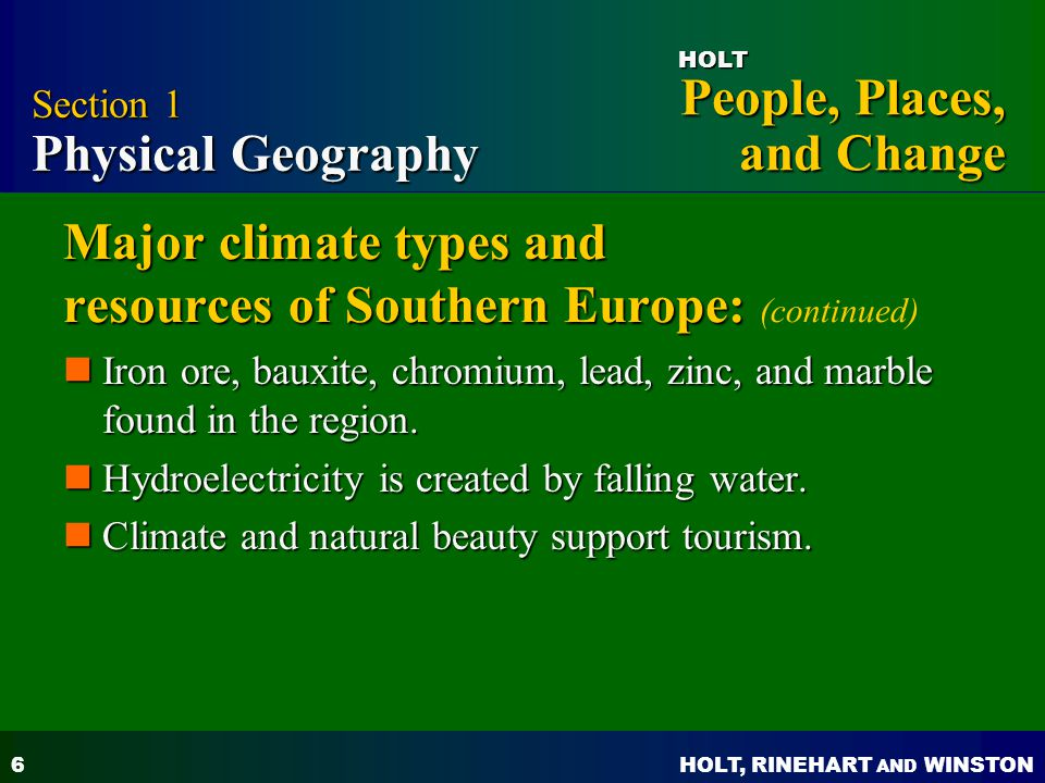 Major climate types and resources of Southern Europe: (continued)