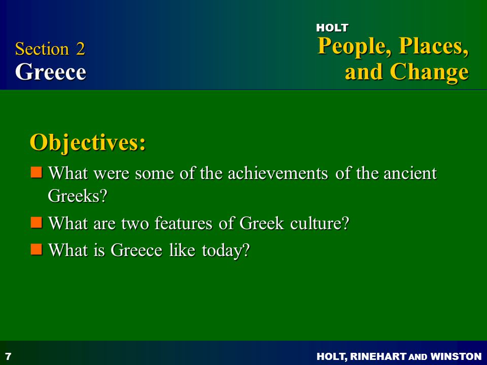 Objectives: Section 2 Greece