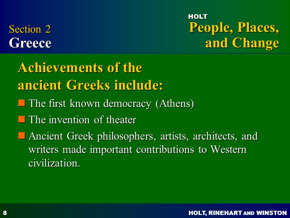 Achievements of the ancient Greeks include: