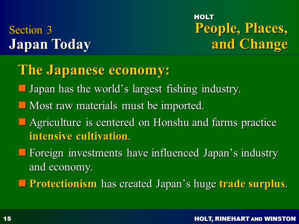 The Japanese economy: Section 3 Japan Today