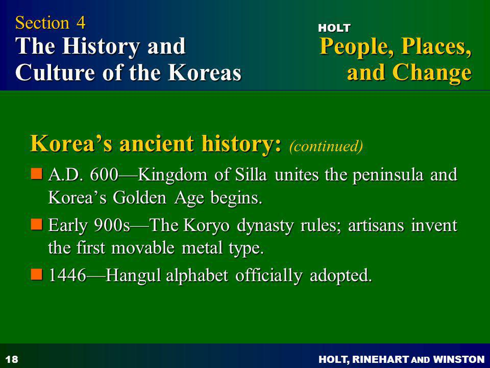 Korea's ancient history: (continued)