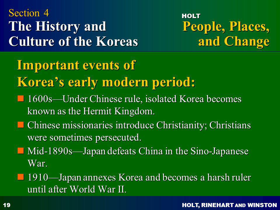 Important events of Korea's early modern period: