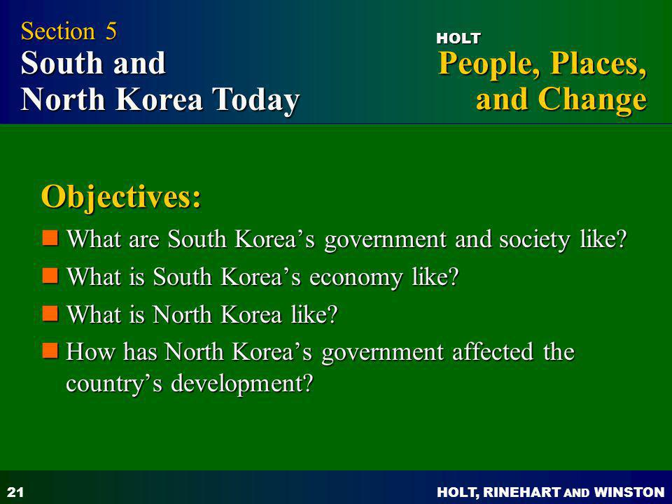 Objectives: Section 5 South and North Korea Today