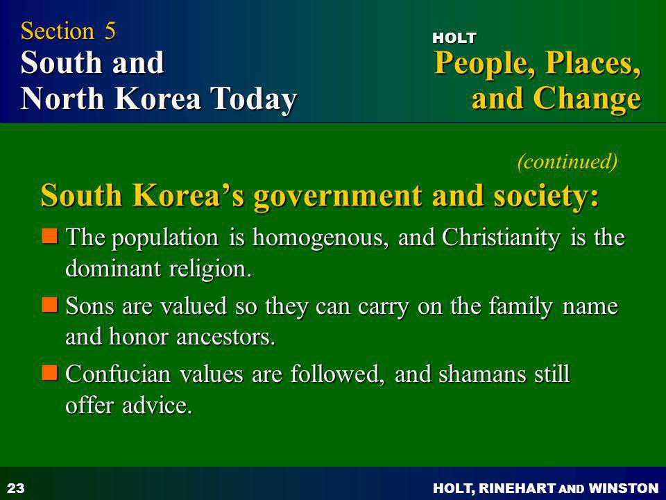 (continued) South Korea's government and society: