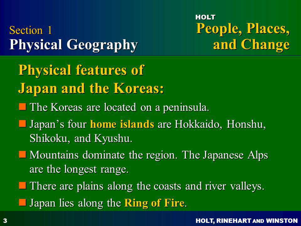 Physical features of Japan and the Koreas: