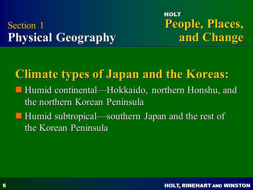 Climate types of Japan and the Koreas: