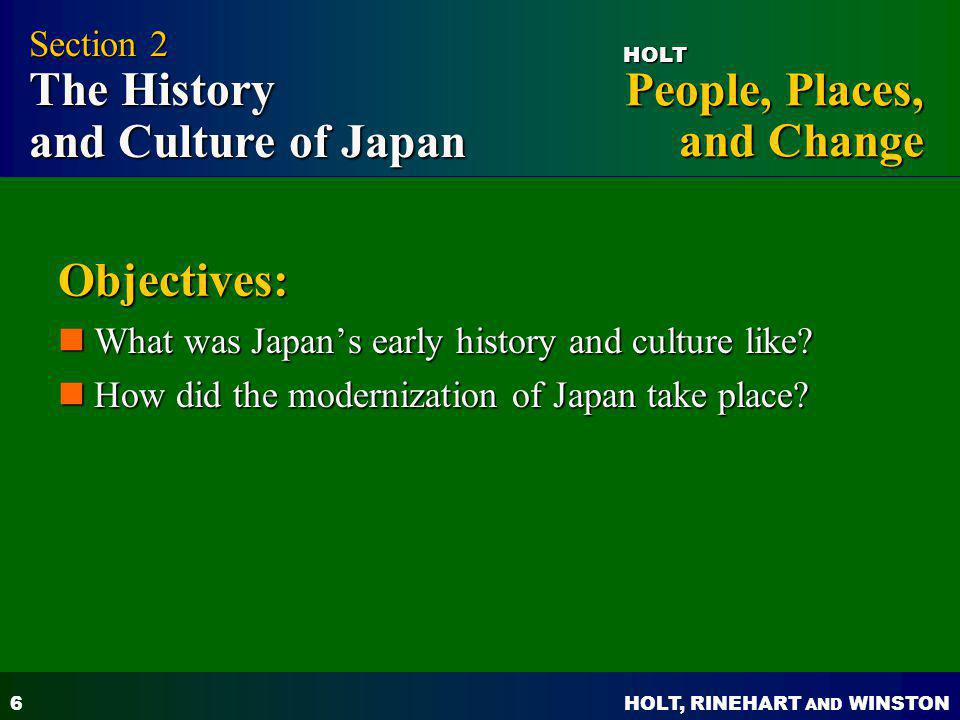 Objectives: Section 2 The History and Culture of Japan