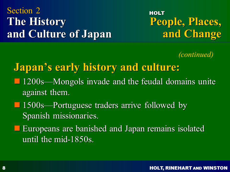 (continued) Japan's early history and culture: