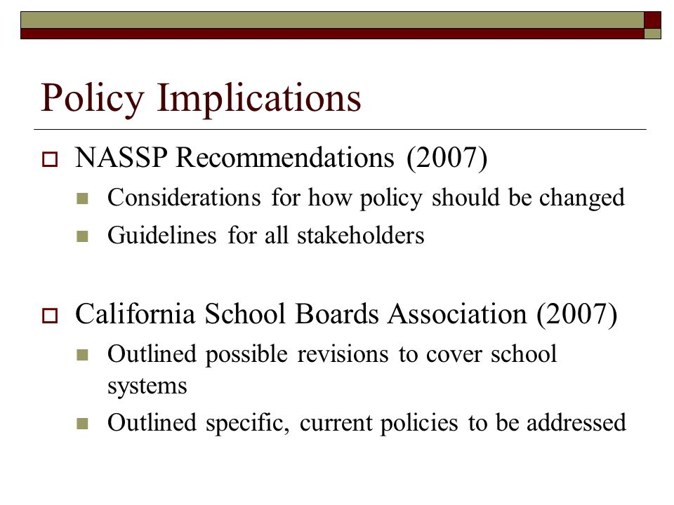 Policy Implications NASSP Recommendations (2007)