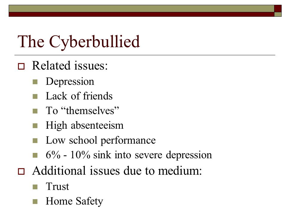 The Cyberbullied Related issues: Additional issues due to medium: