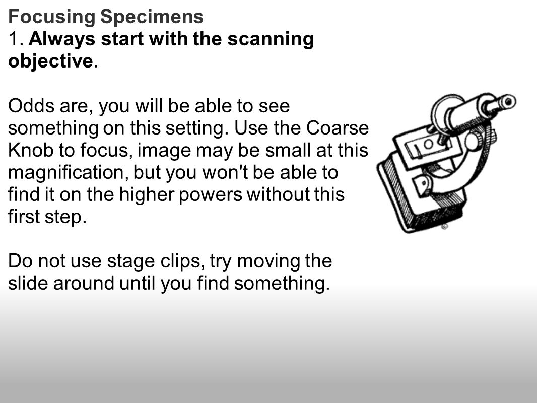 1. Always start with the scanning objective.
