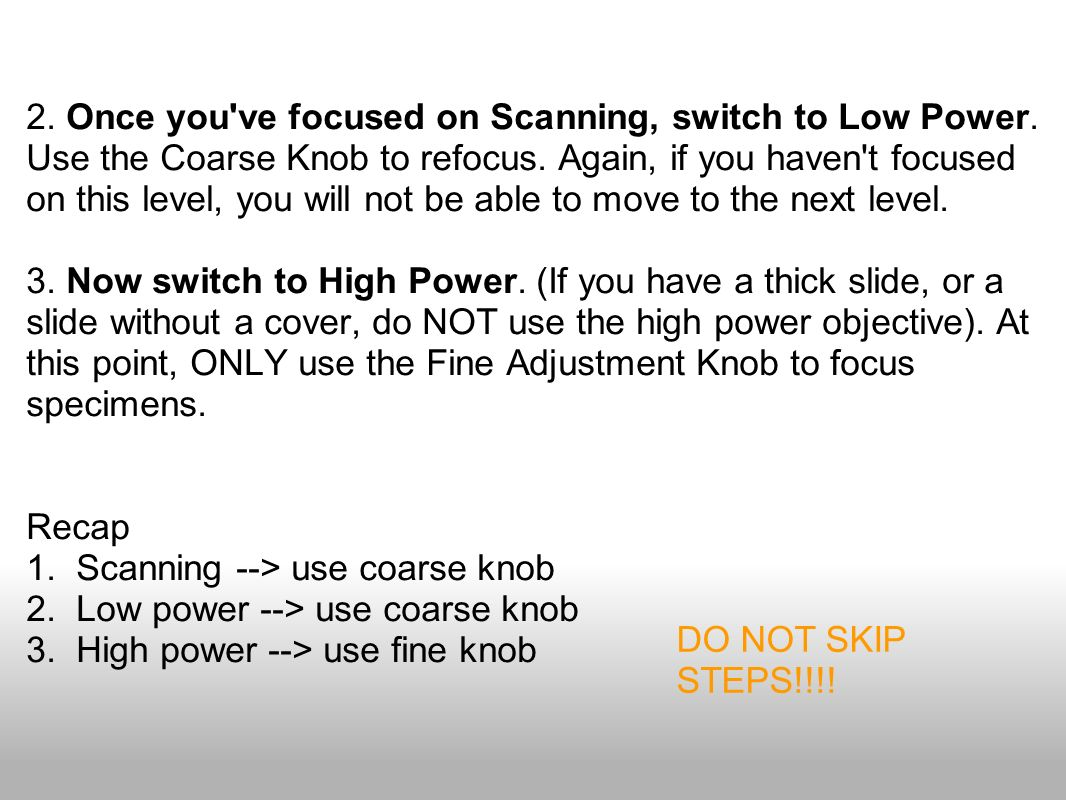 2. Once you ve focused on Scanning, switch to Low Power