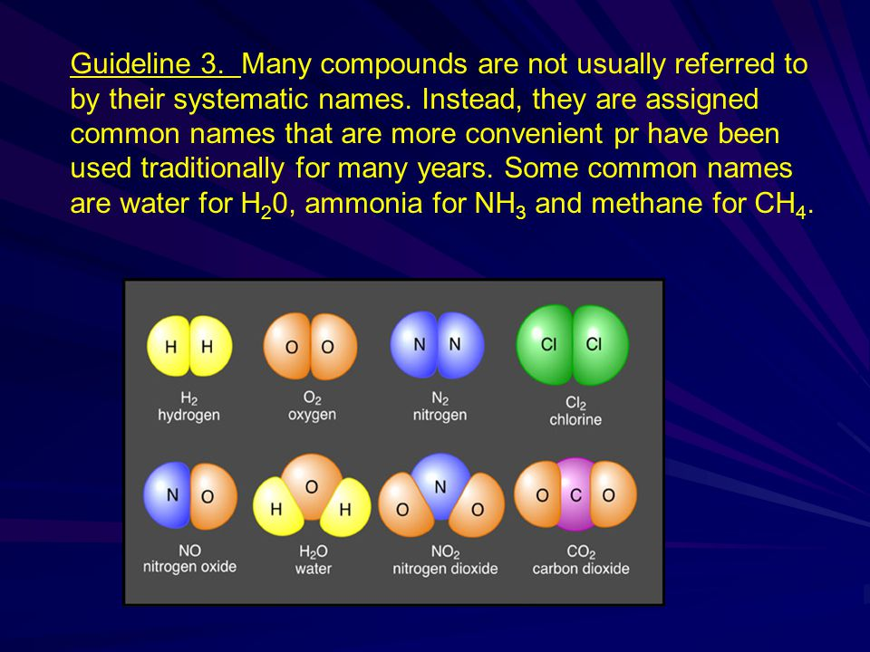 Guideline 3. Many compounds are not usually referred to by their systematic names.
