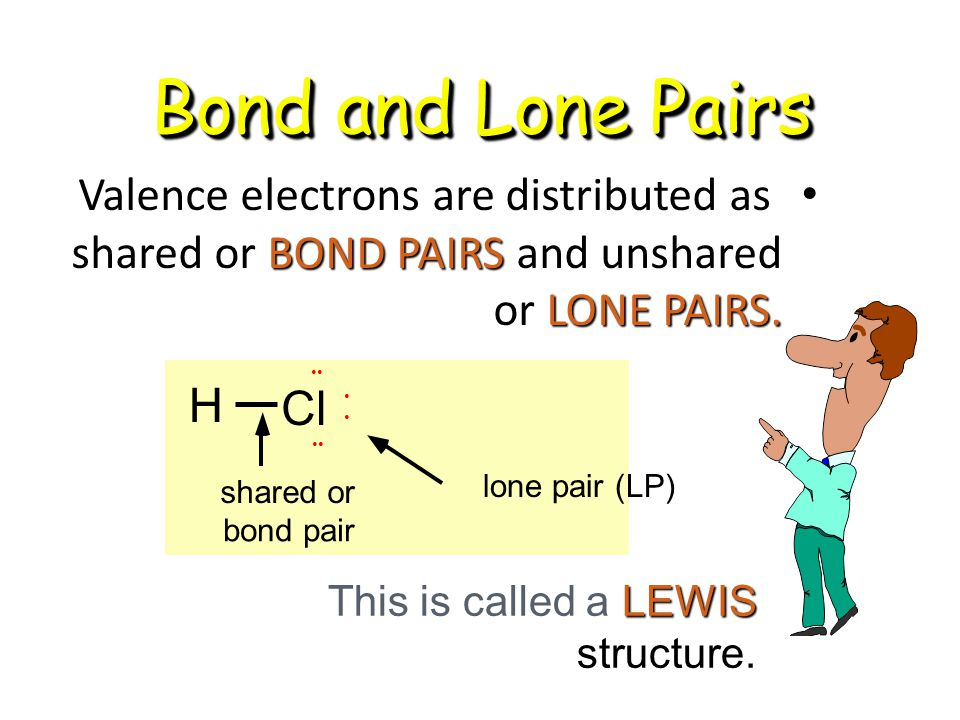 Bond and Lone Pairs Valence electrons are distributed as shared or BOND PAIRS and unshared or LONE PAIRS.