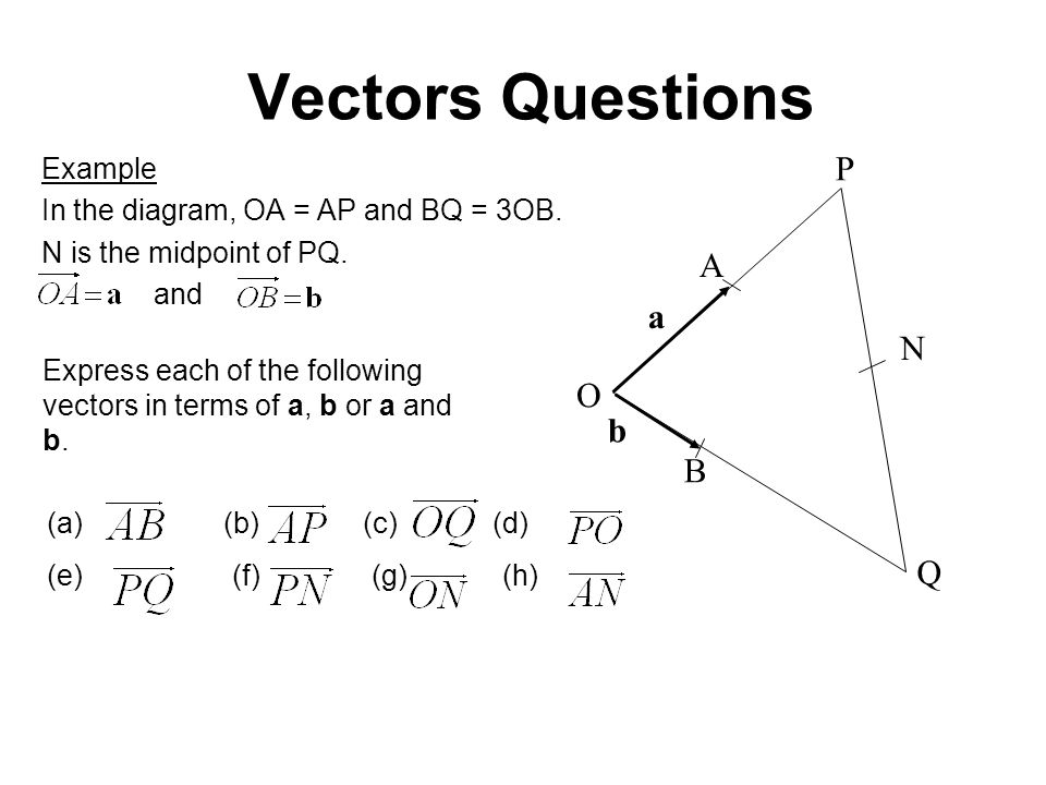 Vectors Questions P A a N O b B Q Example