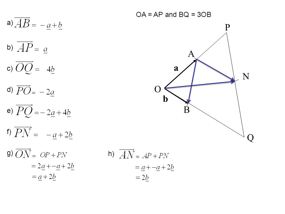 OA = AP and BQ = 3OB a) A P N Q O B a b b) c) d) e) f) g) h)