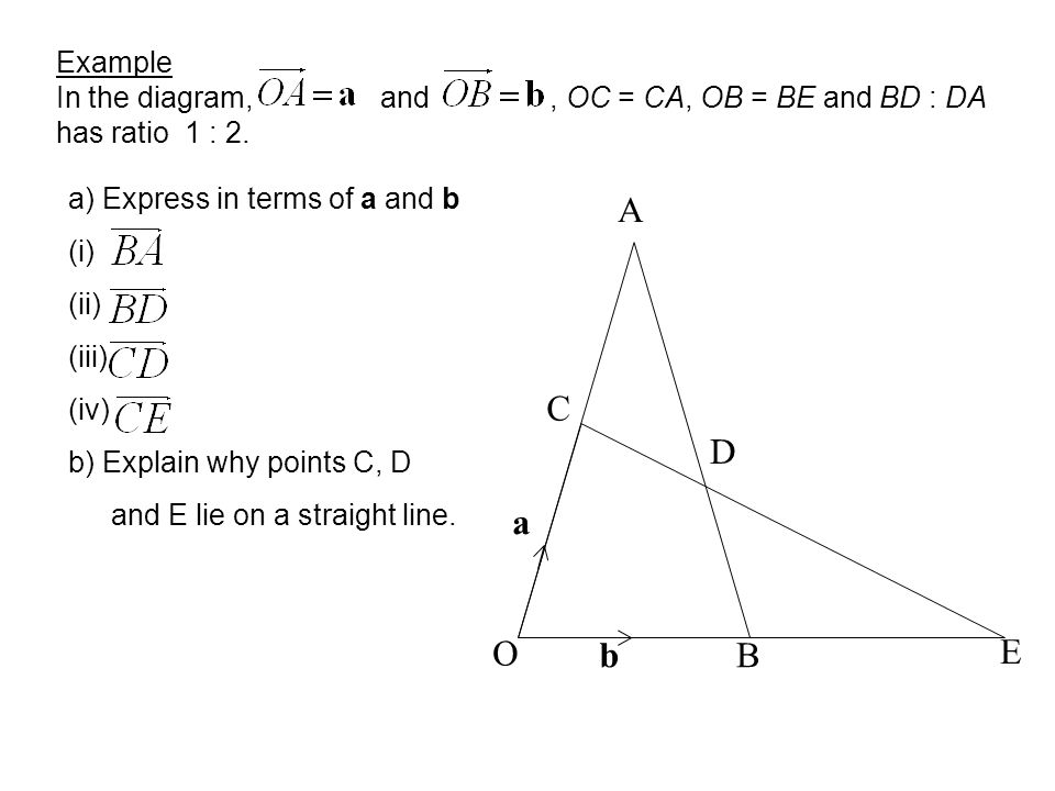 Example In the diagram, and , OC = CA, OB = BE and BD : DA has ratio 1 : 2.