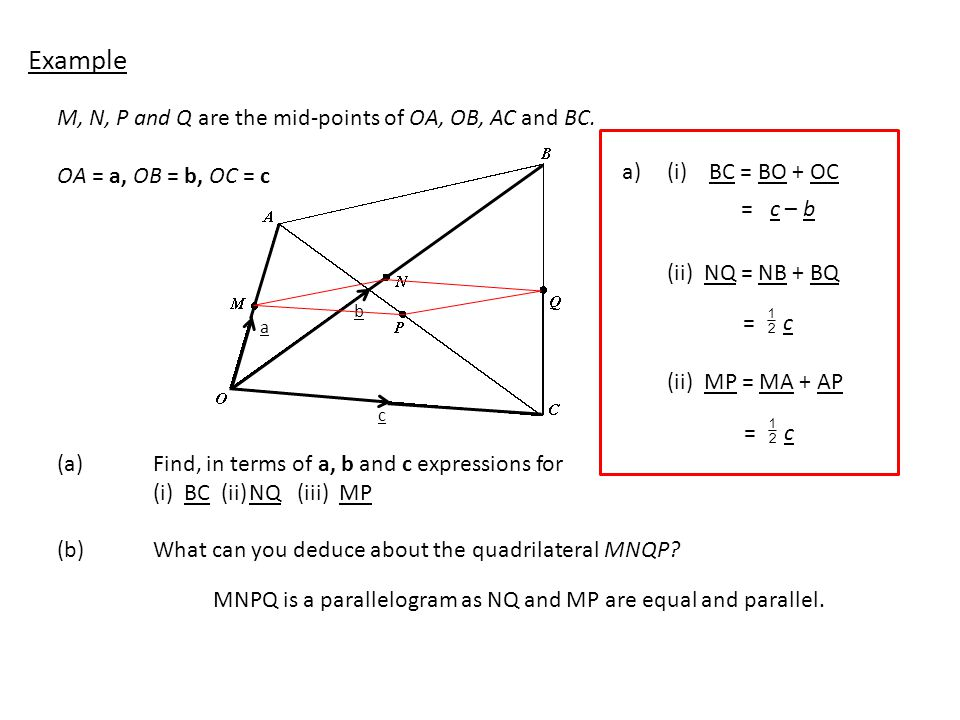Example M, N, P and Q are the mid-points of OA, OB, AC and BC.