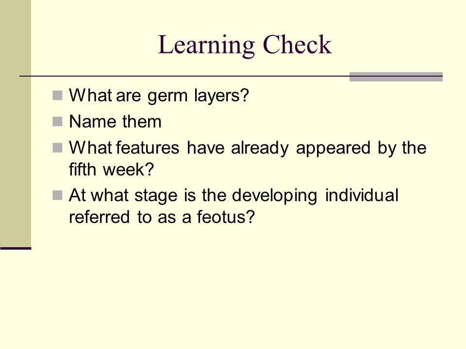 Learning Check What are germ layers Name them