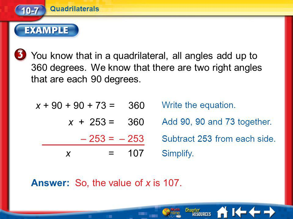 Answer: So, the value of x is 107.