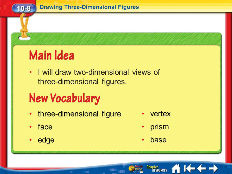 I will draw two-dimensional views of three-dimensional figures.