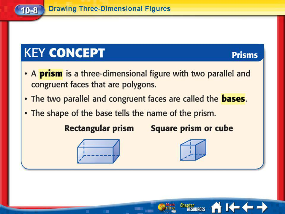 10-8 Drawing Three-Dimensional Figures Lesson 8 Key Concept