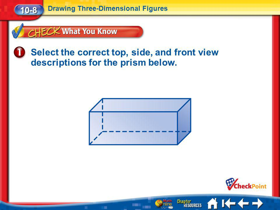 10-8 Drawing Three-Dimensional Figures. Select the correct top, side, and front view descriptions for the prism below.