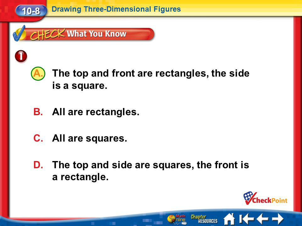 The top and front are rectangles, the side is a square.