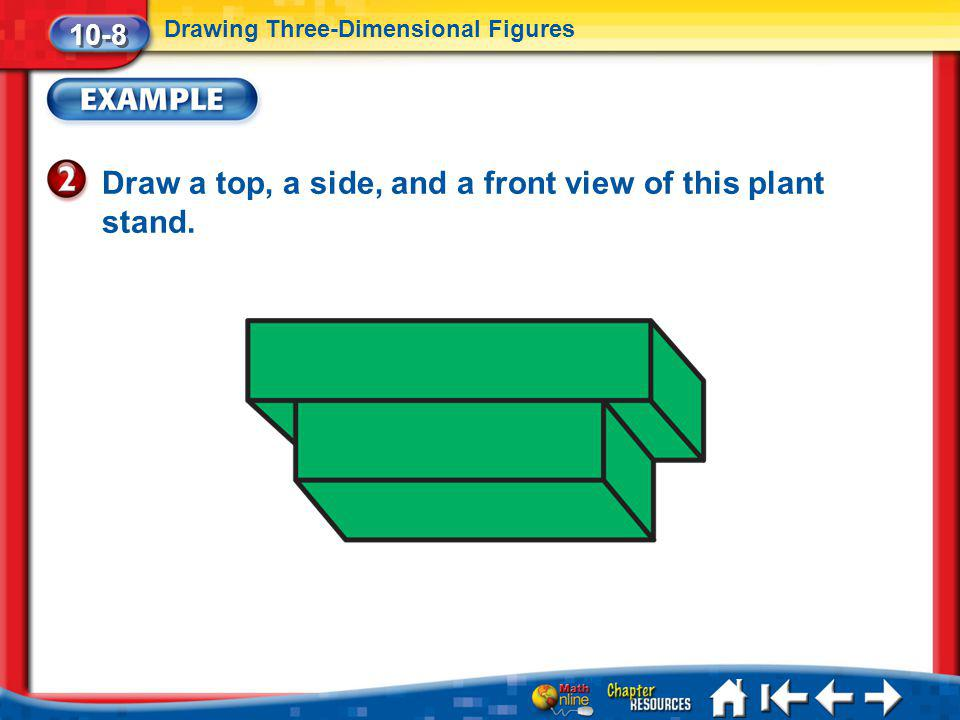 Draw a top, a side, and a front view of this plant stand.