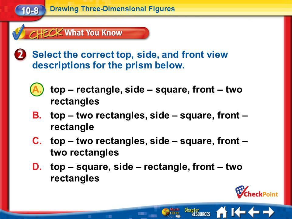 top – rectangle, side – square, front – two rectangles