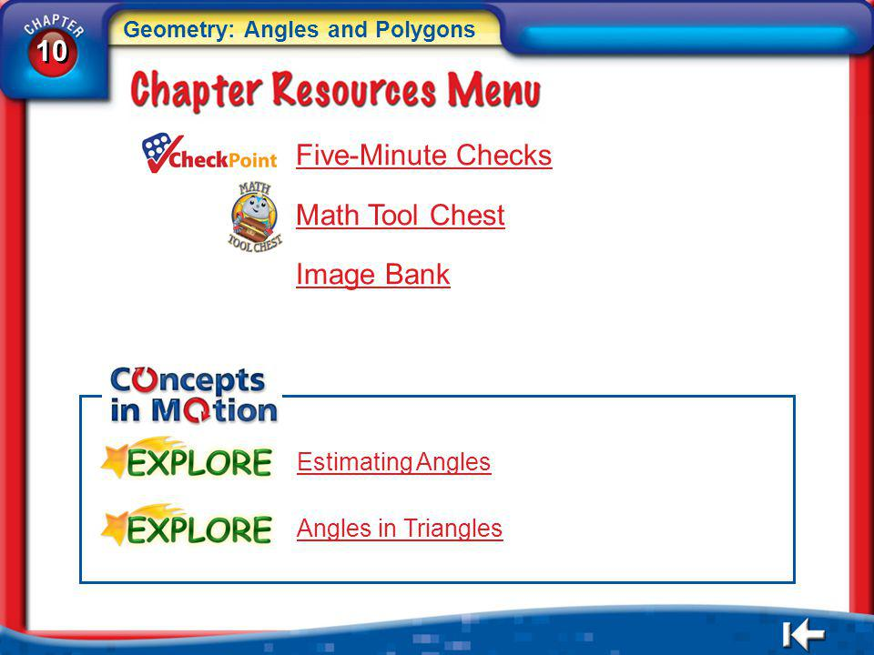 10 Five-Minute Checks Math Tool Chest Image Bank Estimating Angles
