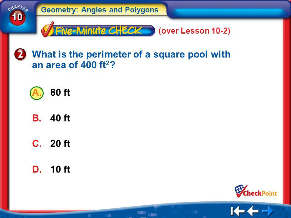 What is the perimeter of a square pool with an area of 400 ft2