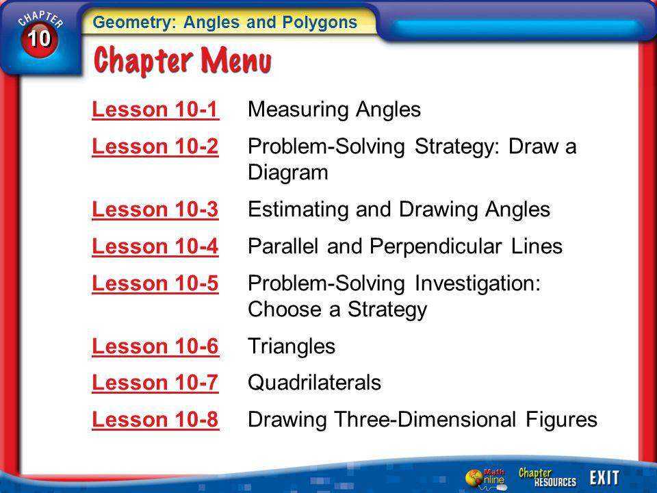 Lesson 10-1 Measuring Angles