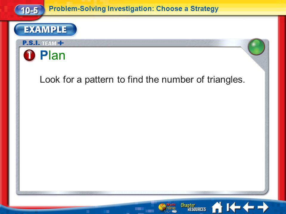 Plan Look for a pattern to find the number of triangles. 10-5