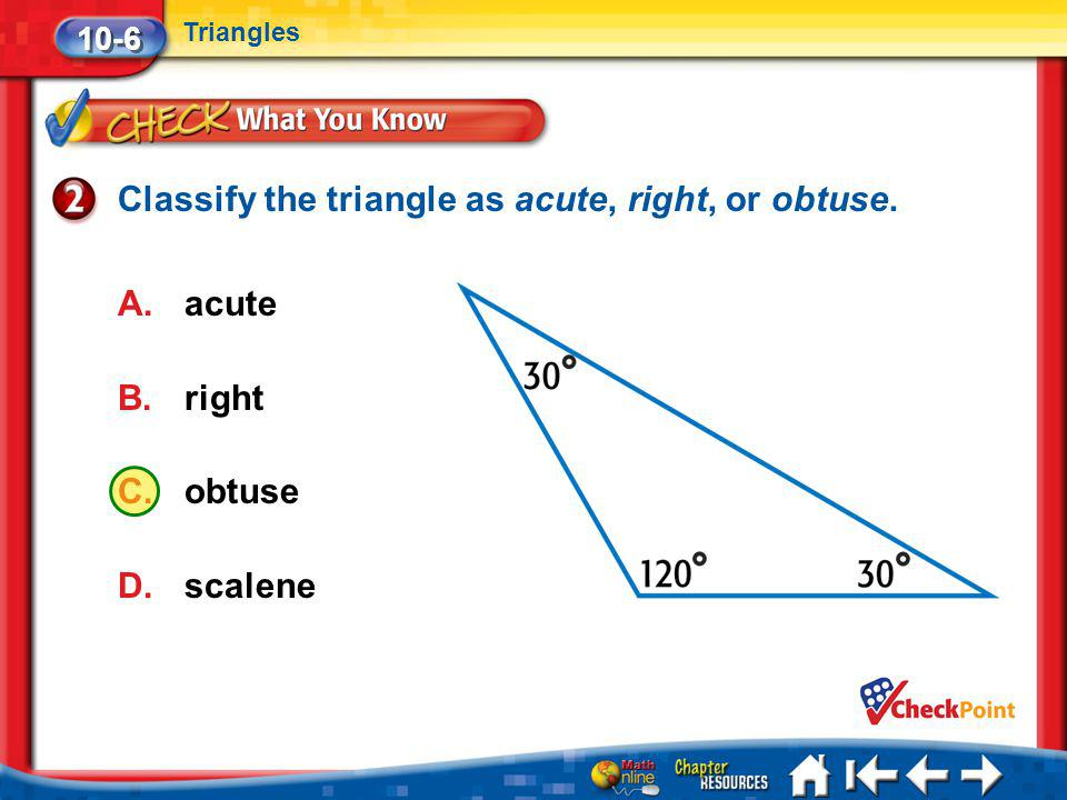 Classify the triangle as acute, right, or obtuse.