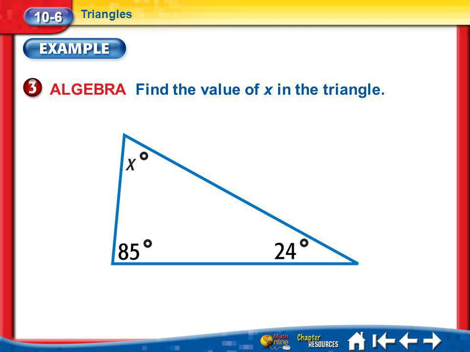 ALGEBRA Find the value of x in the triangle.
