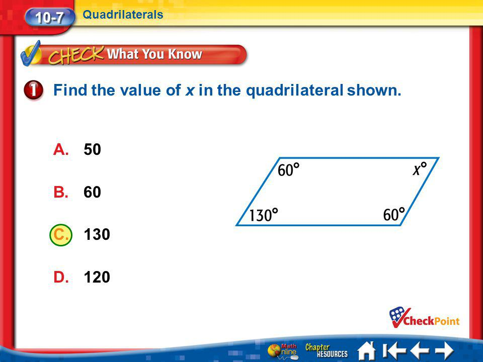 Find the value of x in the quadrilateral shown.