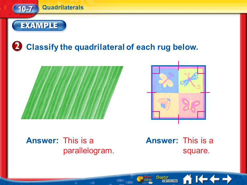 Classify the quadrilateral of each rug below.