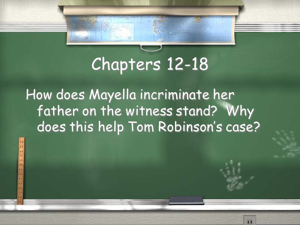 Chapters 12-18 How does Mayella incriminate her father on the witness stand.