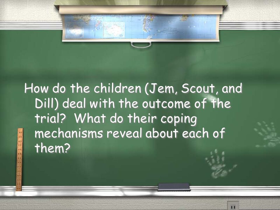 How do the children (Jem, Scout, and Dill) deal with the outcome of the trial.