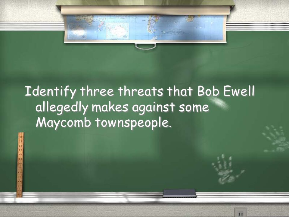 Identify three threats that Bob Ewell allegedly makes against some Maycomb townspeople.