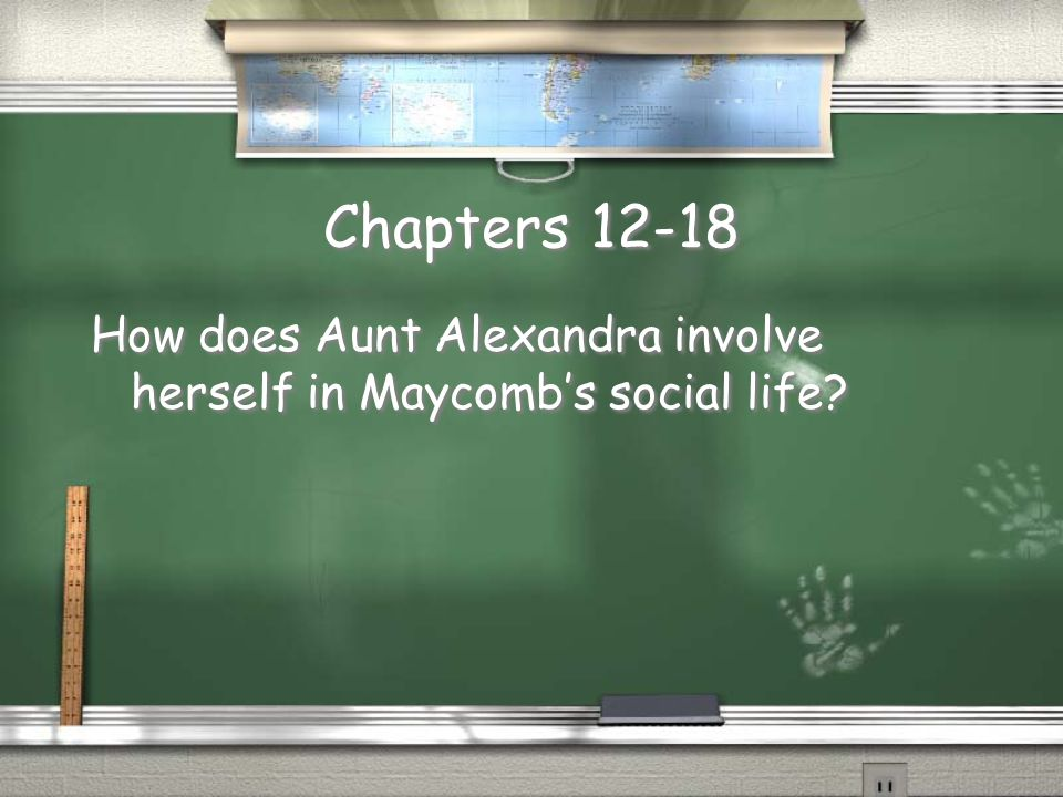 Chapters 12-18 How does Aunt Alexandra involve herself in Maycomb's social life