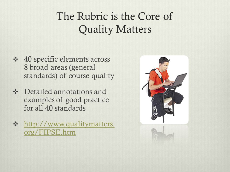The Rubric is the Core of Quality Matters