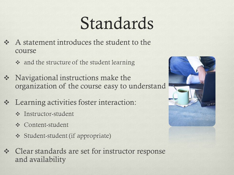 Standards A statement introduces the student to the course