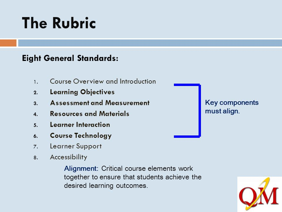 The Rubric Eight General Standards: Course Overview and Introduction