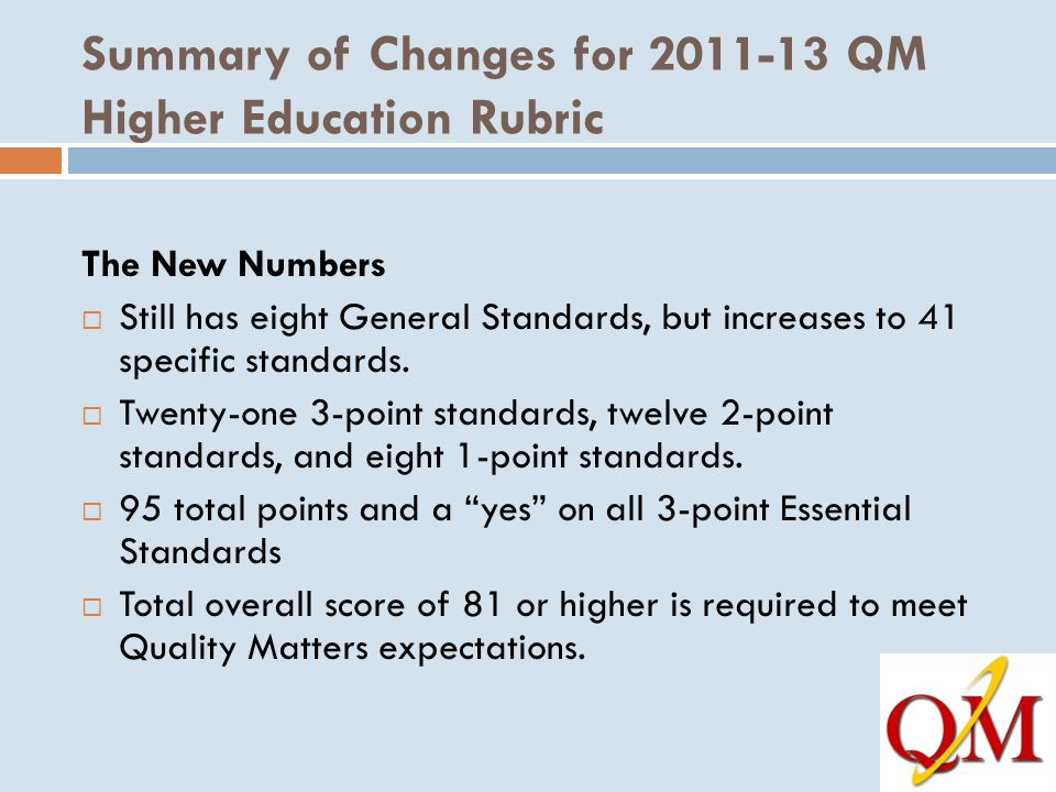 Summary of Changes for 2011-13 QM Higher Education Rubric