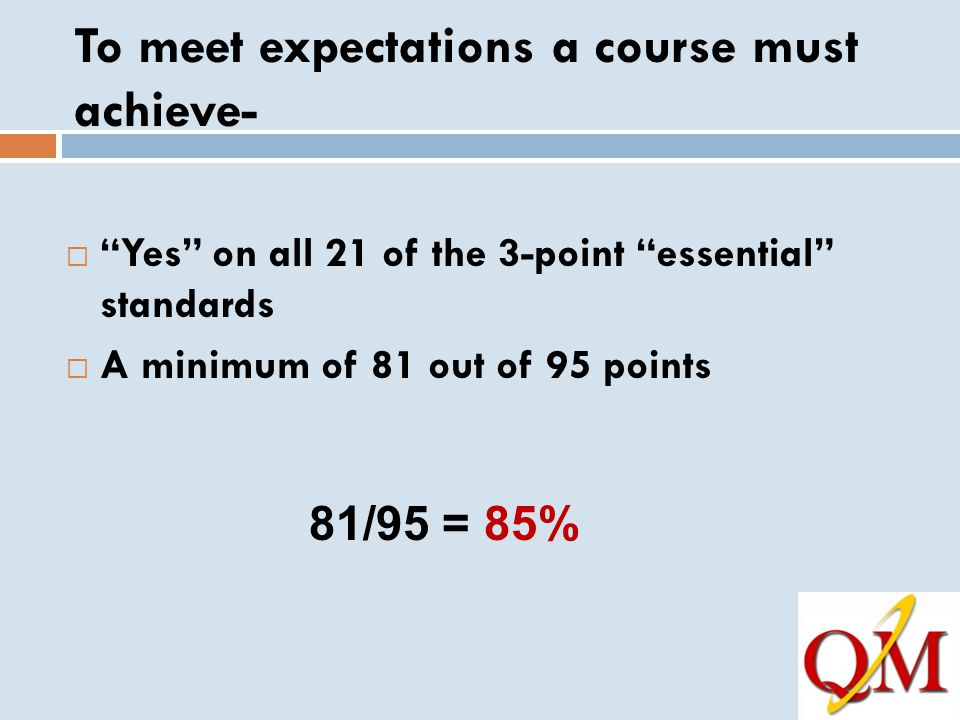 To meet expectations a course must achieve-